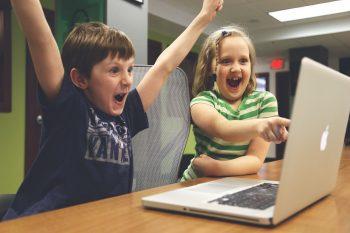 Children Win Success Video Game Play Happy